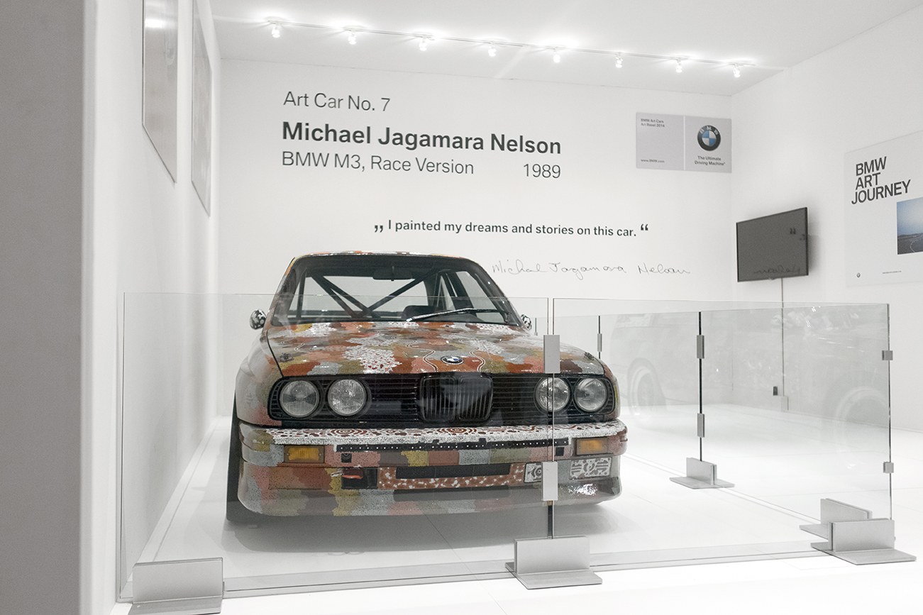 BMW M3 Art Car by Michael Jagamara Nelson, 1989 on display at the VIP Collectors Lounge at Art Basel in Miami Beach 2014 in Miami, FL.
